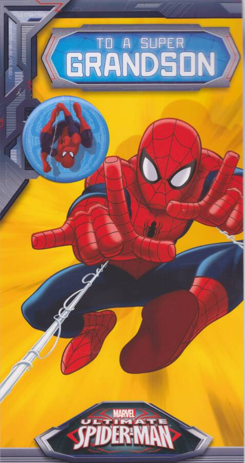 Spiderman Grandson Birthday Card With Badge Cardspark