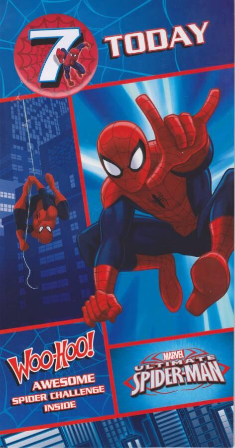 Spiderman Age 7 Birthday Card With Badge 7th Cardspark