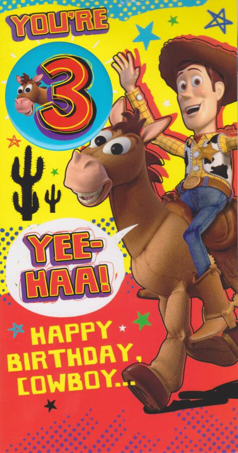 Toy Story Age 3 Birthday Card With Badge 3rd Cardspark