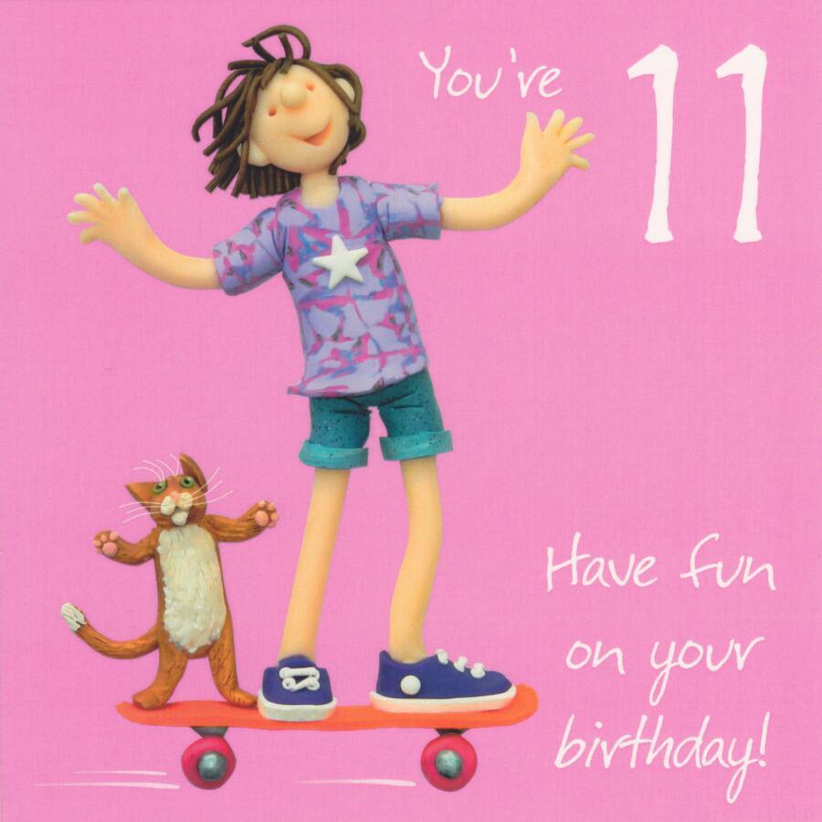 11th Birthday Card Girls One Lump Or Two Cardspark
