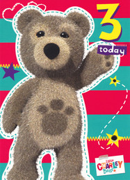 Little Charley Bear Age 3 Birthday Card
