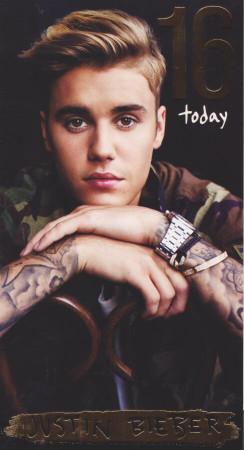 Justin Bieber - Age 16 Birthday Card