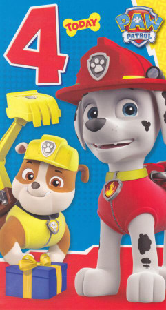 Paw Patrol - Age 4 Birthday Card