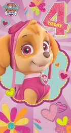 Paw Patrol - Age 4 Birthday Card - Pink
