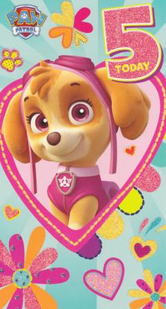 Paw Patrol - Age 5 Birthday Card - Pink