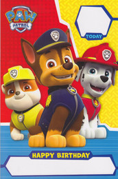 Paw Patrol - Birthday Card - Name Stickers
