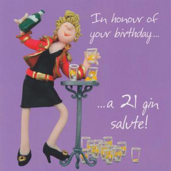 21 Gin Salute Birthday Card