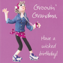 Groovin Grandma Birthday Card - One Lump Or Two