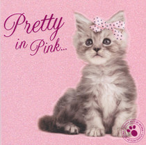 Kitten Birthday Card - Pretty In Pink