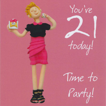 21st Female Birthday Card - Time To Party