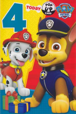 Paw Patrol - Age 4 Birthday Card