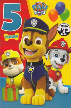 Paw Patrol - Age 5 Birthday Card