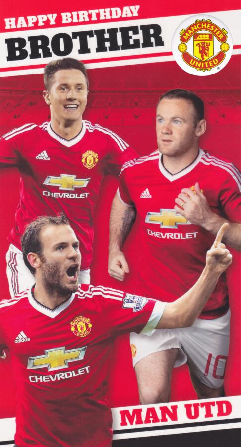 Manchester United Brother Birthday Card With Badge Players