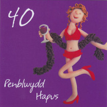 Penblwydd Hapus - Welsh Female Age 40 Birthday Card