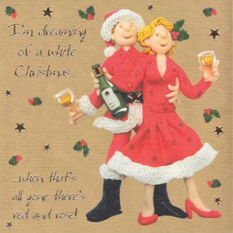 White Wine Humorous Christmas Card