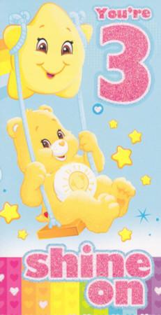 Care Bears - Age 3 Birthday Card