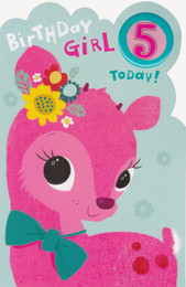 Birthday Girl Age 5 Card - Beautiful Pink Fawn