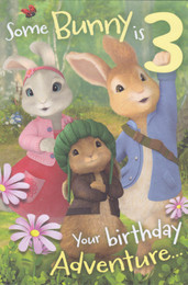 Peter Rabbit - 3rd Birthday Card