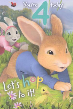 Peter Rabbit - 4th Birthday Card