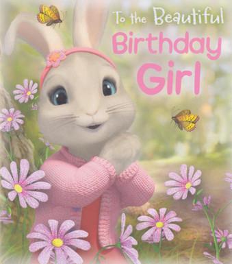 Peter Rabbit - Girls's pink Birthday Card