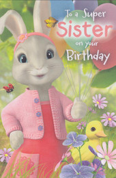 Peter Rabbit - Sister's Birthday Card - Lily Bobtail