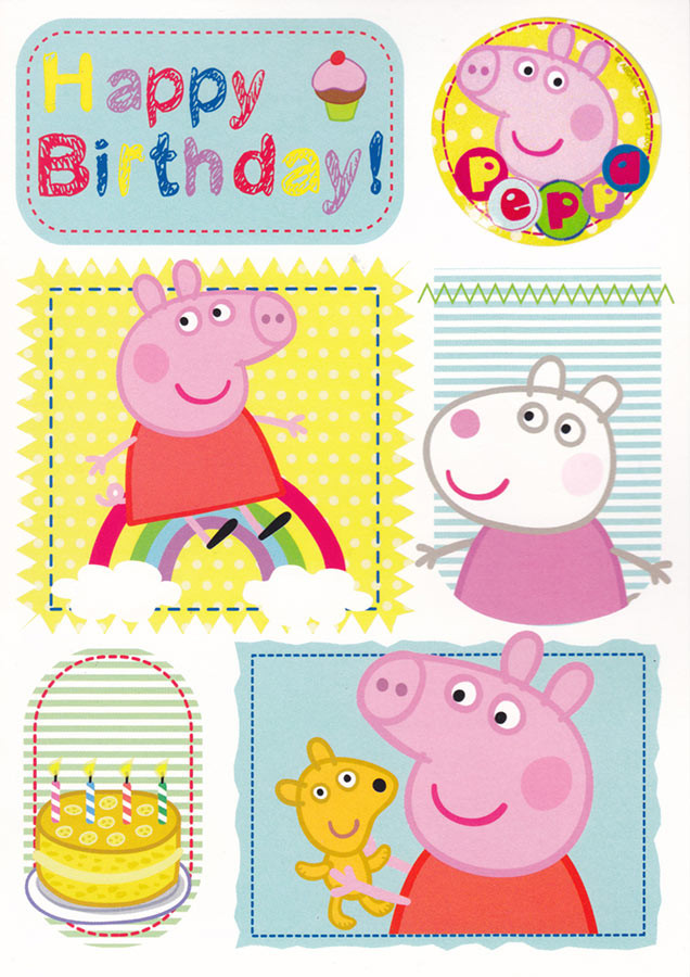 Peppa Pig Birthday Card With Badge Cardspark