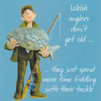 Humorous Welsh Angler Birthday Card