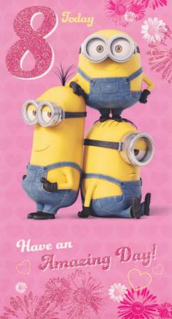 Minions - 8th Birthday Card