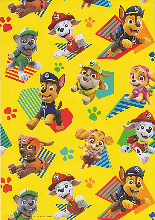 Wrapping Paper /& Tag 50x70cm Approx Brand New Sealed Paw Patrol Birthday Card