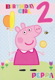 Peppa Pig - Age 2 Birthday Girl Card
