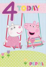 Peppa Pig - Age 4 Birthday Card