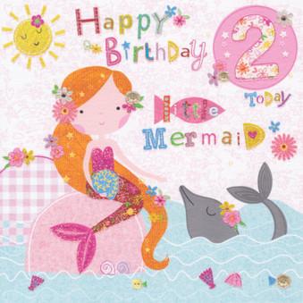 2nd Birthday Card - Mermaid - Cherry Orchard