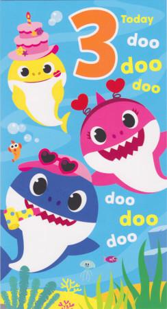 Baby Shark - Age 3 Birthday Card