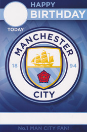 Manchester City F.C. - Birthday Card With Personalise Name And Age