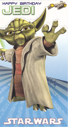 Star Wars Clone Wars Yoda Die Cut Birthday Card