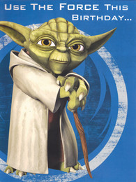 Star Wars Clone Wars Yoda Birthday Card - Pop-Up