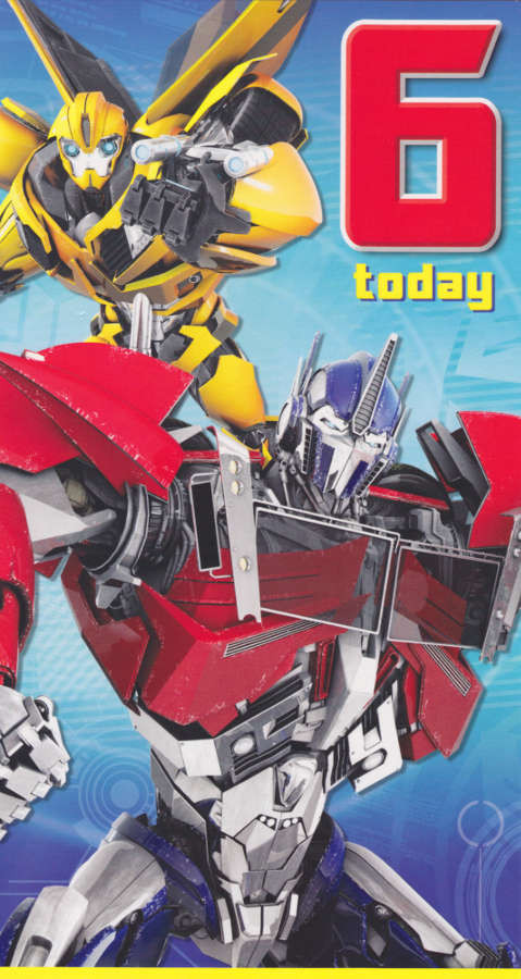 Transformers Age 6 Birthday Card Loading Zoom