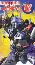 Transformers - Brother Birthday Card With Badge