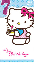 Hello Kitty Age 7 Birthday Card