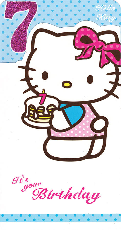 6e61ba572 Hello Kitty Age 7 Birthday Card. Loading zoom