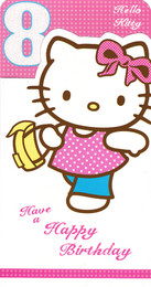 Hello Kitty Age 8 Birthday Card