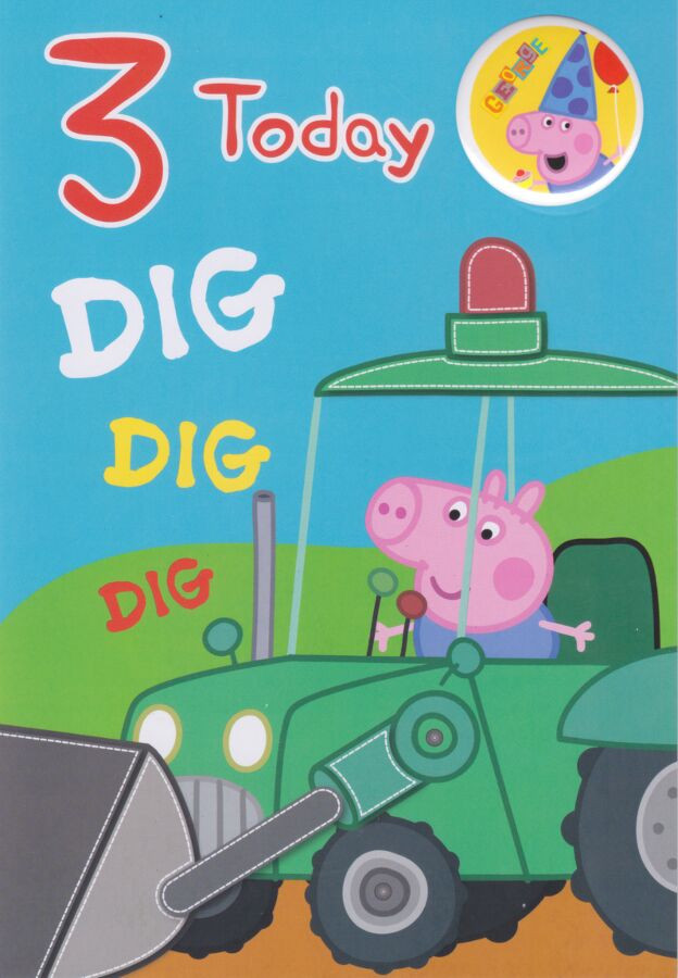 Peppa Pig Age 3 George Birthday Card With Badge