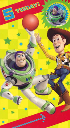 Toy Story Age 5 Birthday Card With Badge