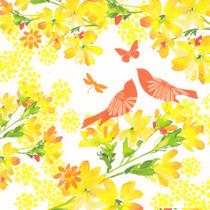 Summer Thornton Birds And Yellow Blossom Card