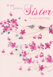 Birdsong Sister Birds And Blossom Card
