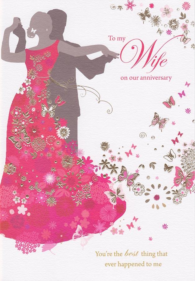 wife silhouette anniversary card - sara miller