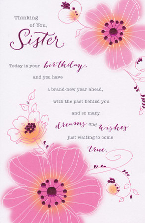 CCI Sister Pink Blossom Birthday Card