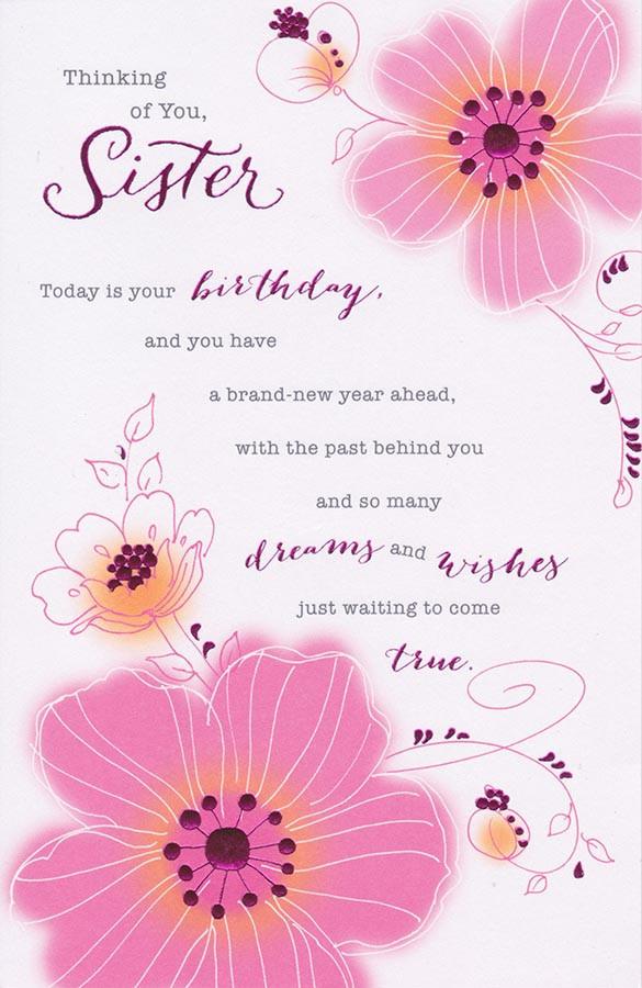 Carlton Cards Sister Pink Blossom Birthday Card Cardspark