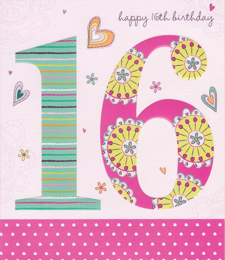 Carlton Cards 16th Birthday Card Raised Lettering And Glitter