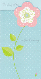 CCI Birthday Card Pink Flower On A Blue Polka Dot Background